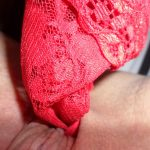 used knickers red lace stuffed in my wet pussy